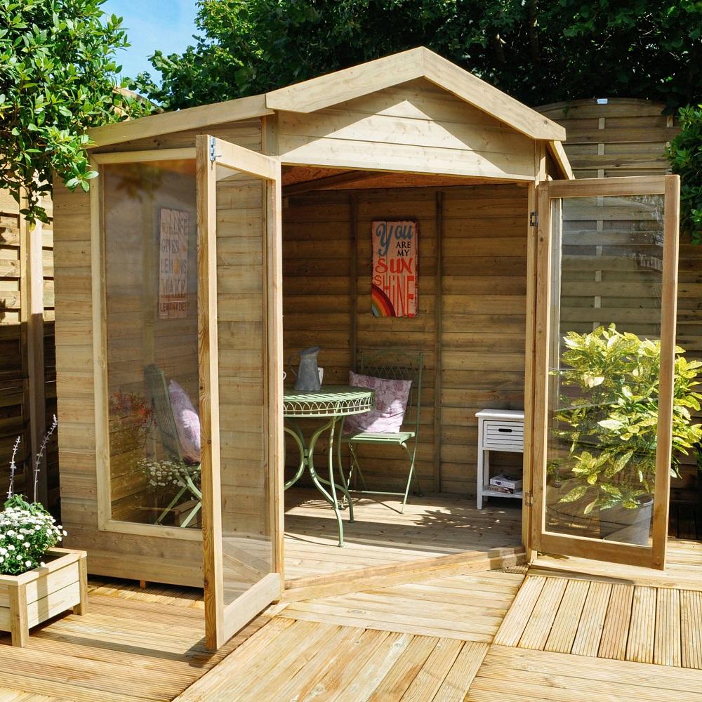 Không gian nhà gỗ nhỏ nhưng lạ mắt, thích hợp cho những khu vườn không quá rộng rãi